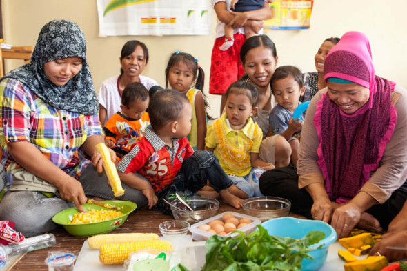 Cooking and nutrition classes are enjoyed by mothers and children alike
